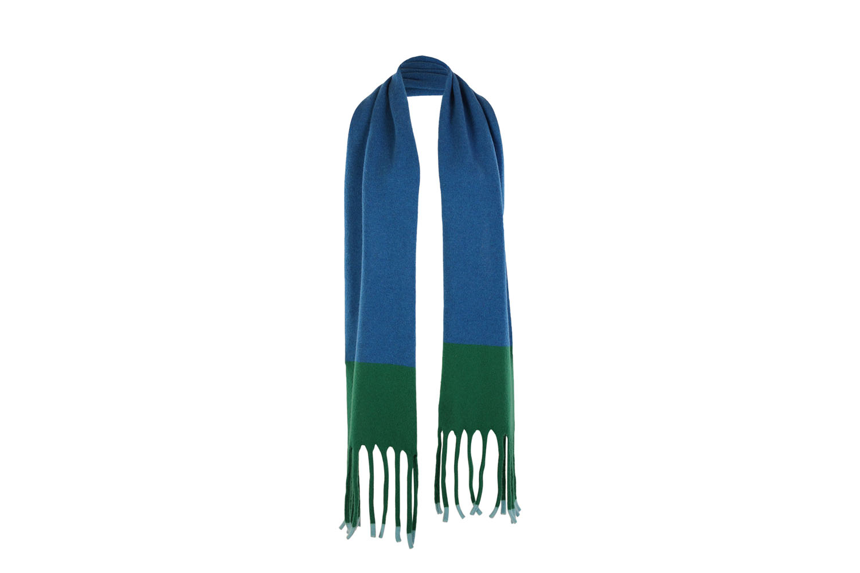 Fringed scarf Aqua1