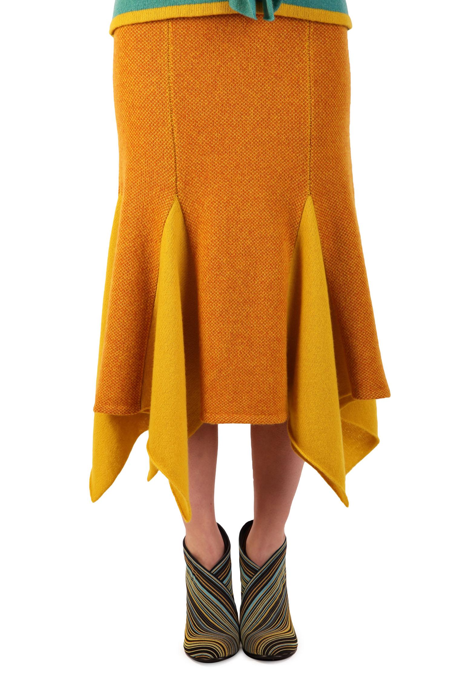 Ochre tweed skirt1
